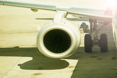 Close up on airplane engine Stock Photography