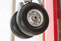 Close up of an airplane undercarriage or landing gear. Transportation Stock Photo