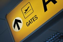 Close up of an airport gate stock image