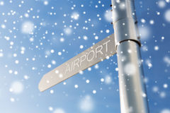 Close up of airport signpost over blue sky Stock Image
