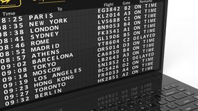 Close-up of airport timetable on laptop screen Royalty Free Stock Photography