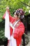 Close-up Aisa Chinese actress Peking Beijing Opera Costumes Pavilion garden China traditional drama play dress perform ancient. Eastern Asian oriental royalty free stock photo