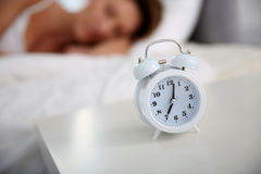 Close-up of alarm clock by the bed Royalty Free Stock Photo