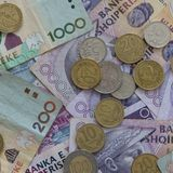 Close up of Albanian LEK. Albania national currency. Close up of Albanian LEK, Albania national currency stock photo