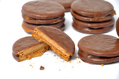 Close up of alfajor splited Royalty Free Stock Image