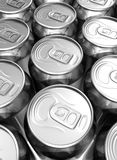 Close up aligned soda cans Royalty Free Stock Image