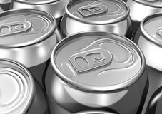 Close up aligned soda cans Royalty Free Stock Photos