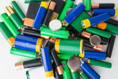 Close up of alkaline batteries Royalty Free Stock Photos