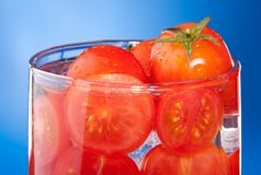 Close-up allegory of glass with tomato juice Stock Photography