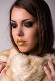 Close up Alluring Woman with Furry Scarf Stock Photo