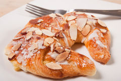Close up of almond croissant Royalty Free Stock Photography