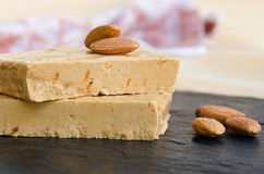Close up of  Almond nougat Stock Images