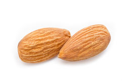 Close up almonds isolated on the white Stock Photos