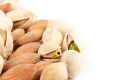 Close-up almonds and pistachios Royalty Free Stock Photography