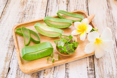 Close up Aloe vera in wooden plate Stock Photo