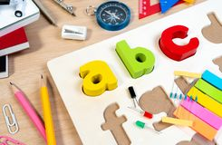Close up of alphabet board game practicing and basic equipment for elementary grade student for learning and playing in STEM. Close up of alphabet board game royalty free stock photos