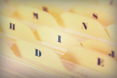 Close up of alphabetical index cards in box Stock Photos