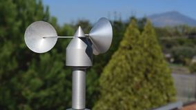 Anemometer on roof. Close up of aluminum anemometer on roof stock video