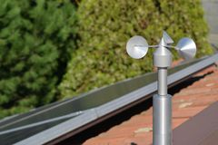 Anemometer on roof Stock Photos