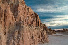Close-up of the Amazing bentonite clay formations of Cathedral Gorge State Park at Sunset in Nevada. USA Stock Image