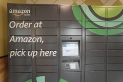Close-up of Amazon Locker self-service parcel delivery, pickup a stock image