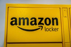 Close up of Amazon logo on one of their Amazon lockers located inside a store in San royalty free stock photos