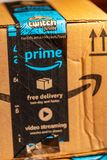 Close up Amazon Prime Delivery Label royalty free stock images