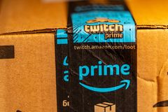 Close up Amazon Prime Delivery royalty free stock images
