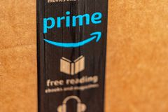 Close up of Amazon Prime Delivery royalty free stock photo