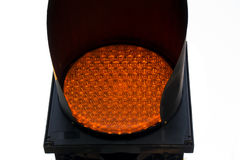 Close up amber yellow light Traffic start stopping Sign Stock Photo