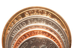 Close up of american coins Royalty Free Stock Photos