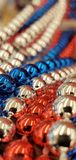 A close up of american flag beads stock images