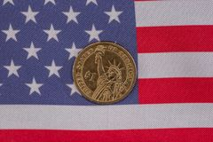 American flag and cent coins, nationalism concept. Close up of american flag and cent coins, nationalism concept stock photography