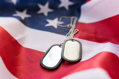 Close up of american flag and military badges Stock Photo