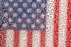 Close-up of American Flag Photographed Through Wet Glass Stock Photos