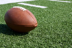 Close up of American football royalty free stock photo
