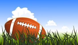 Close up of an american football on the field Stock Photo
