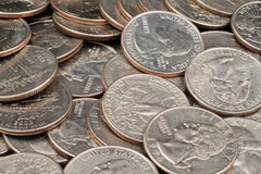 Close Up Of American Quarters Royalty Free Stock Image