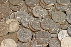 Close Up Of American Quarters Royalty Free Stock Images