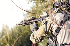 Close up of American Soldier aiming his rifle Royalty Free Stock Photography
