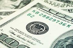 Close-up americano das cédulas dos EUA do dólar Foto de Stock
