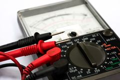 Close up Analog Multimeter isolated on white background. Close up Analog Multimeter isolated on white background Royalty Free Stock Photography