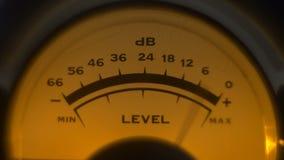 Close-up of analoge volume indicator working