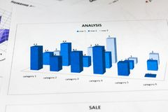 Close-up, analysis of the annual report, blue chart. Business Royalty Free Stock Images