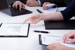 Close-up of analyzing bar chart Stock Photos