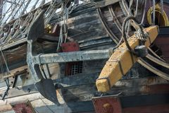 Close Up of the Anchor of an Ancient Pirate Galeon. On Blur Background stock photos