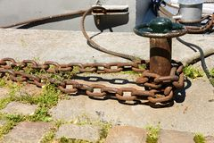 Close up of anchor chain. Thick anchor chain on nautical background royalty free stock photography