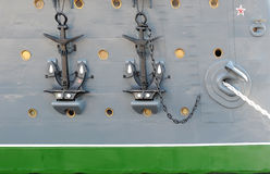 Close-up of anchors of the cruiser Aurora. Saint-Petersburg, Russia August 10, 2016: Linier Cruiser Aurora after the repair. in St. Petersburg, Russia. Close-up royalty free stock images