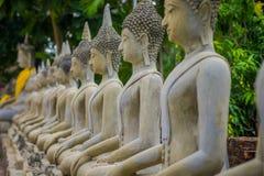 Close up of Ancient Buddha Statue at WAT YAI CHAI MONGKOL, The Historic City of Ayutthaya, Thailand.  Stock Image