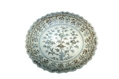 Ancient Chinese porcelain plate royalty free stock photos